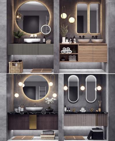 现代浴室柜组合 床头背景墙 床具组合