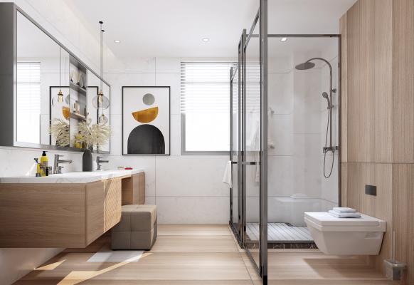 现代卫生间 淋浴房 装饰画