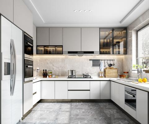 现代厨房 厨柜 装饰品