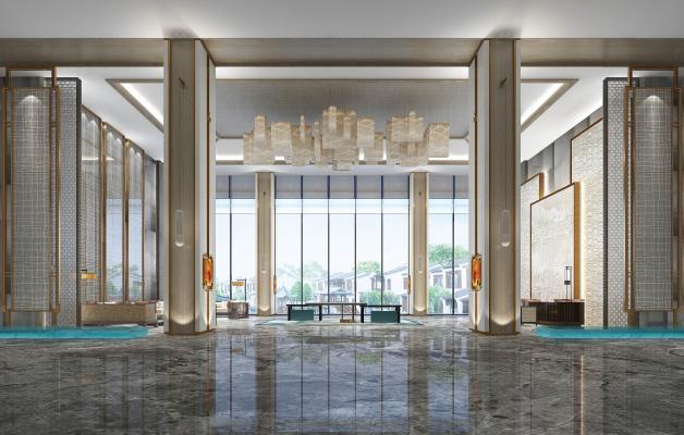 新中式酒店大堂 大堂吊灯 大堂背景墙