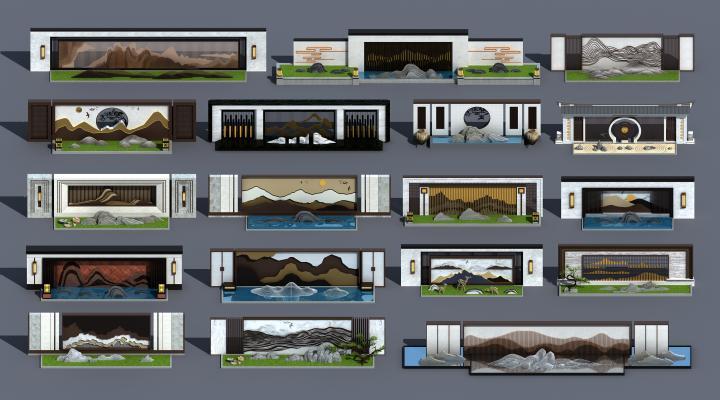 新中式景墙 景观墙 山水景墙