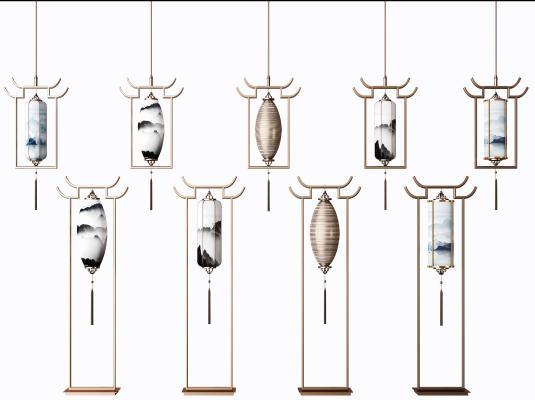 新中式金属吊灯落地灯组合 吊灯 灯具