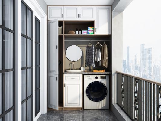 现代阳台洗衣机柜 洗衣机 阳台