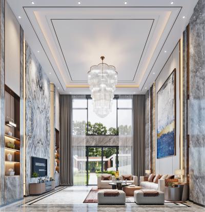 现代别墅挑空客厅 宾利沙发