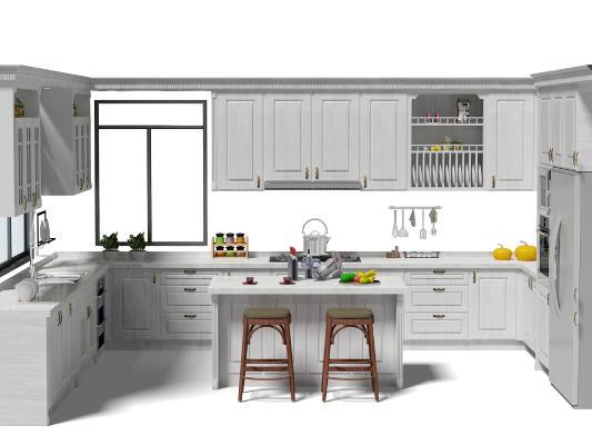 歐式簡約廚房櫥柜 中島柜 吧凳