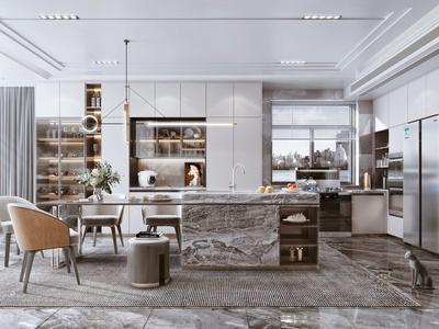 现代餐厅 开放式厨房 酒柜 橱柜