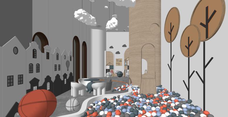 现代儿童娱乐室 活动区 滑梯 吊灯 景墙 桌椅 雕塑