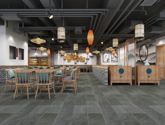 新中式休闲餐厅 吊灯 挂画