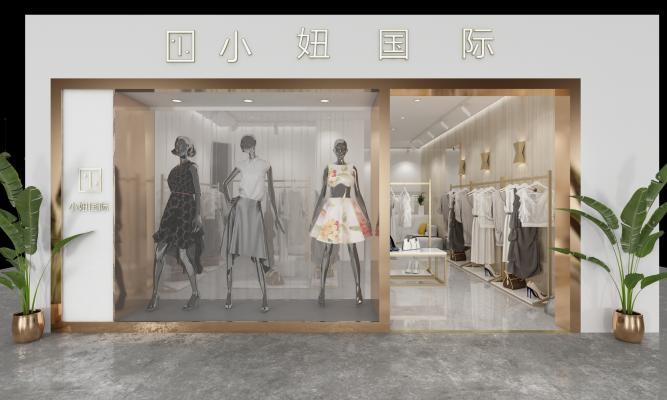 现代风格服装店 门头 模特