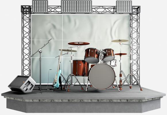 现代乐器 舞台 音响 架子鼓