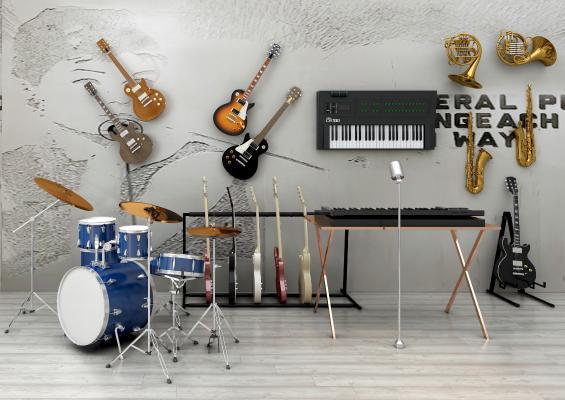 现代乐器组合 吉它萨克斯电子琴圆号架子鼓