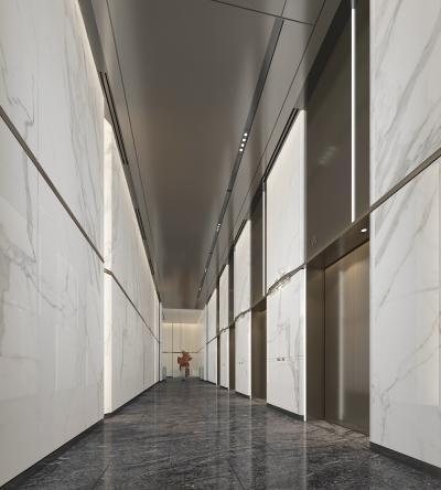 现代电梯过道 办公楼 写字楼 门禁