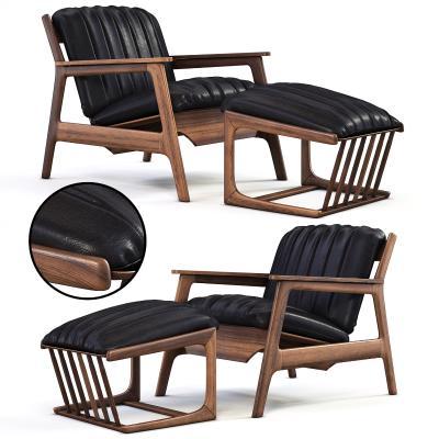 現代皮革躺椅腳踏