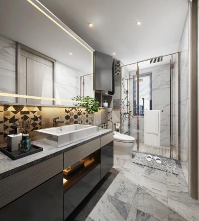 现代轻奢卫生间 淋浴间 台盆柜