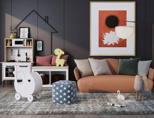 北欧儿童休闲区 沙发家具组合 装饰画