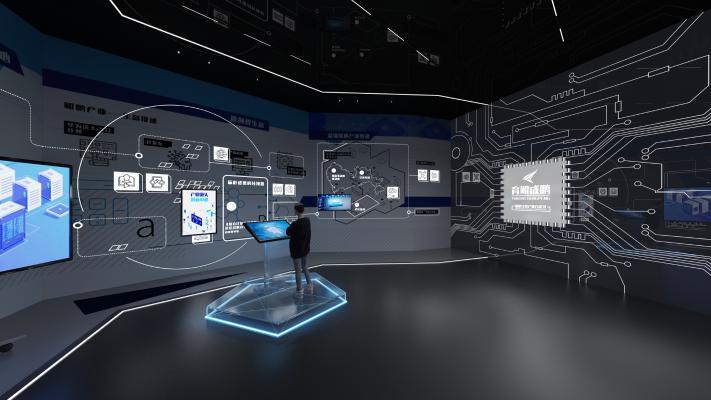 现代科技展厅 电子显示屏 人