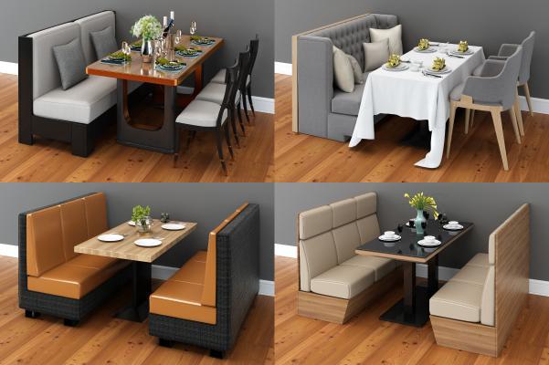 现代卡座 餐桌座椅