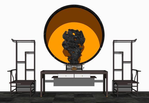 中式端景台休闲椅太湖石组合