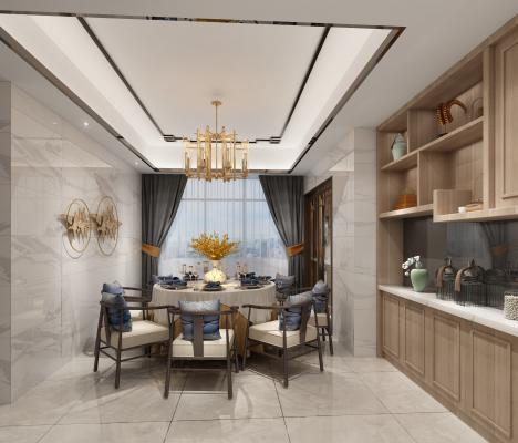 新中式餐厅 餐桌 备餐台