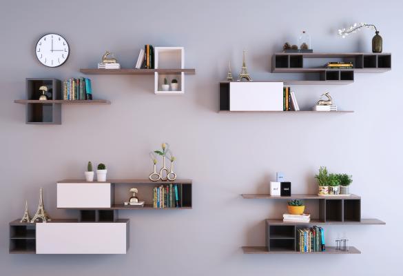 现代实木壁柜 隔板置物架组合 隔板 壁柜
