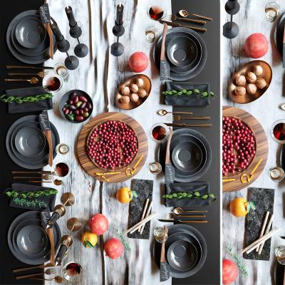 现代餐具食物摆盘 餐具 陈设