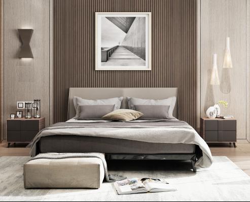 现代床 床头柜 吊灯