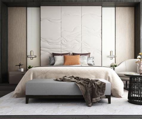 现代双人床背景皮革硬包背景休闲椅床头吊灯床榻