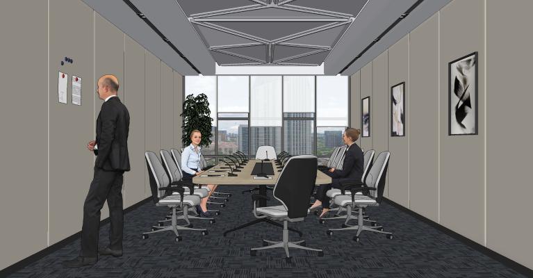 现代小型会议室 会议桌椅 人物