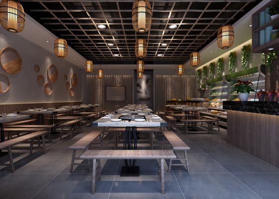 新中式火锅店 串串 桌椅组合