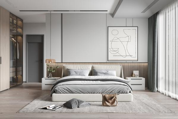 現代臥室 雙人床 床頭柜