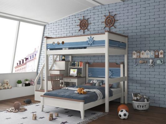 地中海卧室 儿童床 上下铺