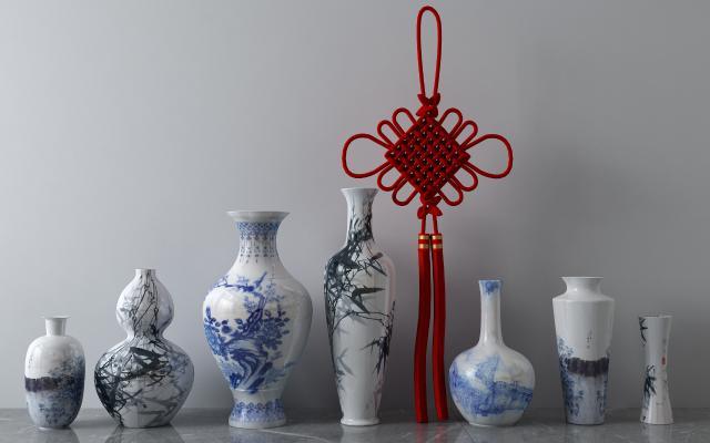 新中式花瓶中国结瓷器