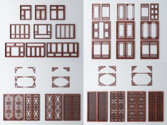 中式窗户 镂空 窗花