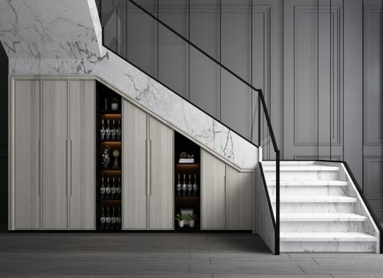 現代楼梯 储物柜 转角楼梯 楼梯储藏柜