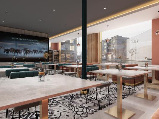 现代咖啡厅 餐桌椅 墙饰