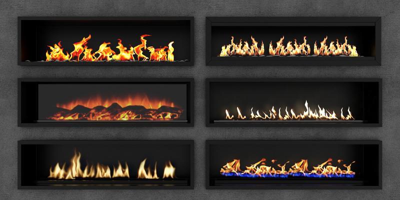 现代电子壁炉组合 火