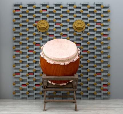 新中式擂鼓击鼓背景墙组合