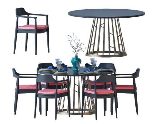 新中式桌椅组合