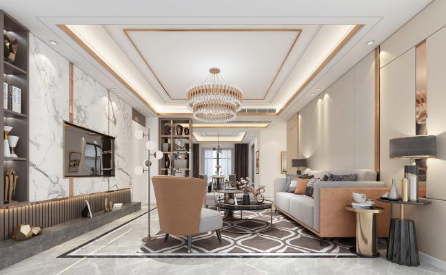 现代轻奢客餐厅 轻奢沙发金属茶几 角几组合 电视沙发 背景墙