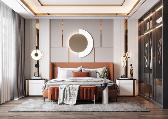 现代轻奢卧室 床 吊灯