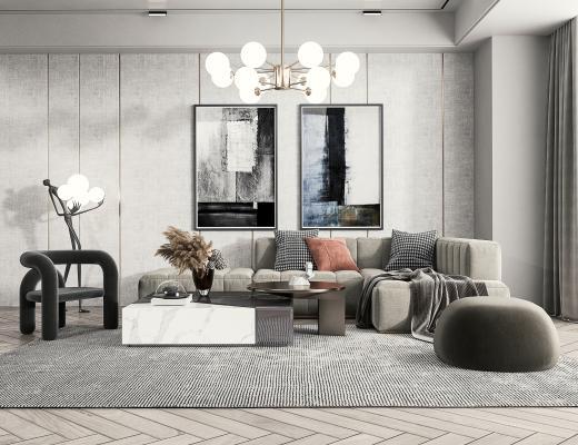 现代多人沙发 转角沙发