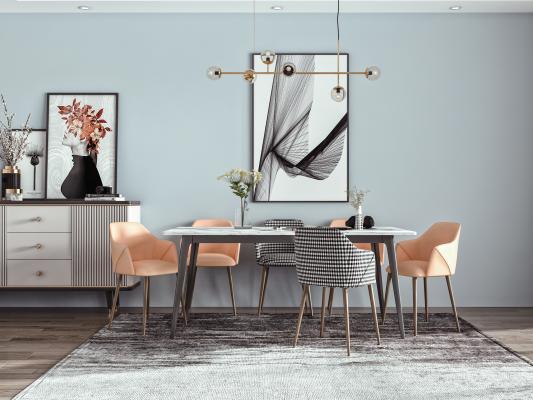 北欧餐厅 餐桌椅 方形餐桌