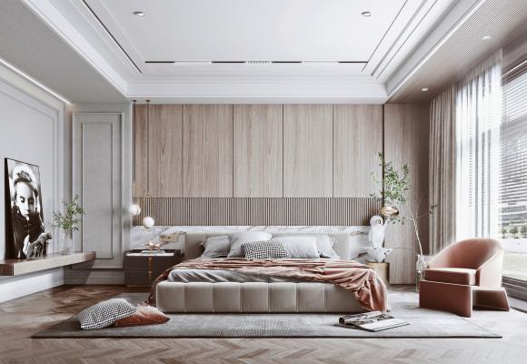 现代卧室 双人床 边几