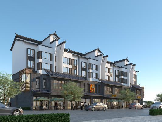 新中式商住楼 住宅楼带商铺 青瓦青砖白墙 马头墙