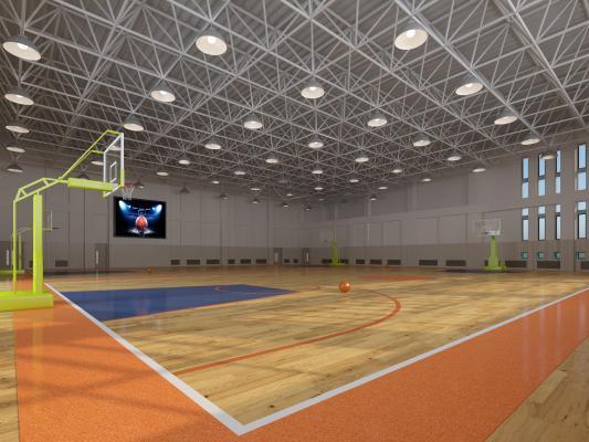现代体育馆 篮球框 篮球