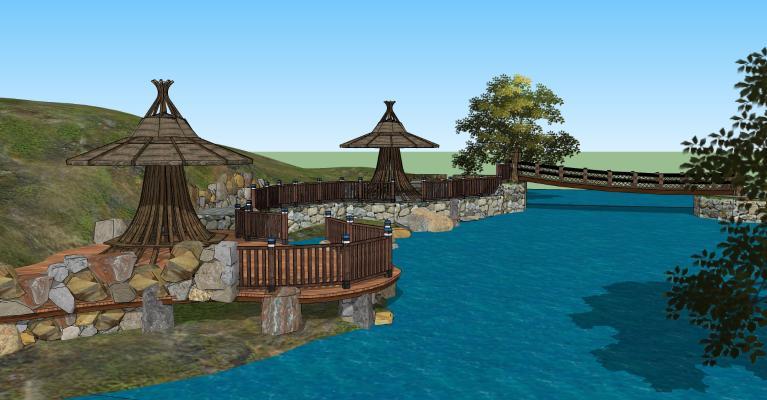 中式濱水公園 景觀木棧道 木橋
