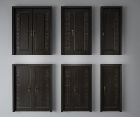 中式子母门 平开门 双开门