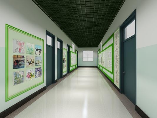 现代学校走廊 长廊