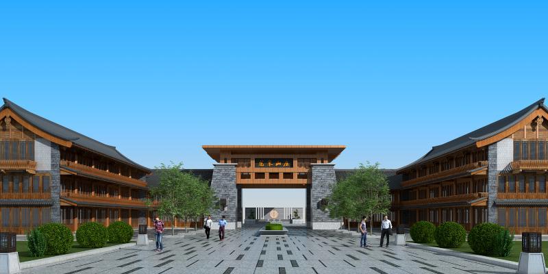 中式古建 大门 入口