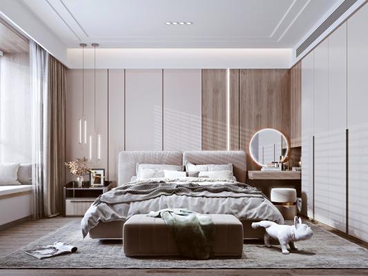 现代卧室 双人床 床头柜